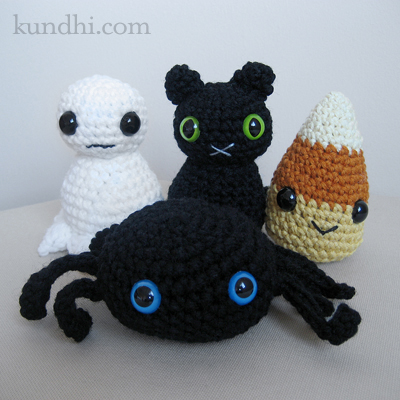 crochet ghost black cat candy corn spider amigurumi