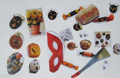 glue stick halloween collage