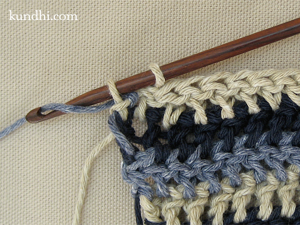 how to: crochet or knit single row stripes