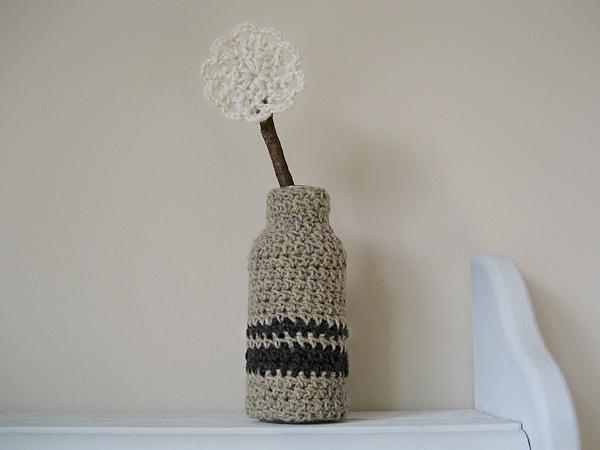 vintage inspired crochet bud vase