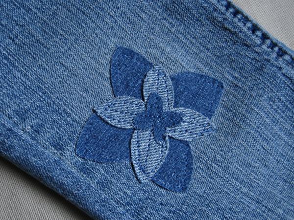 denim flower patch applique