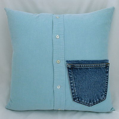 denim pocket men's shirt pillow
