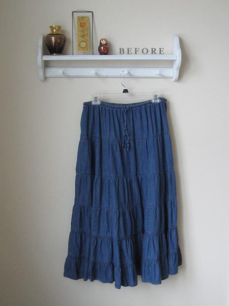 denim skirt refashion