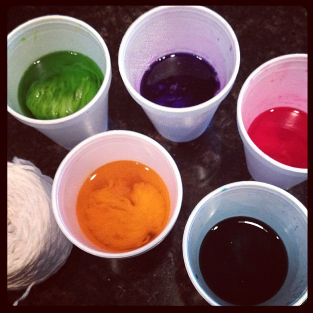 dyeing yarn with easter egg dye