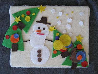 felt snowman and christmas trees