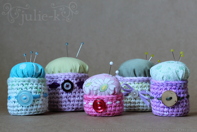 crochet pin cushions in my etsy shop