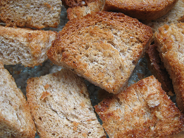 homemade bread and croutons