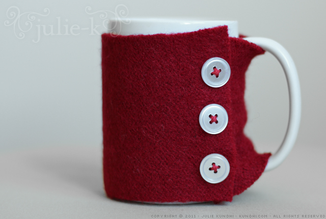 felted wool sweater mug cozy
