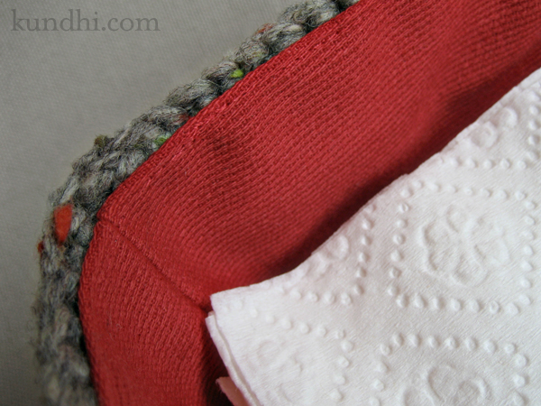 lined crochet napkin basket