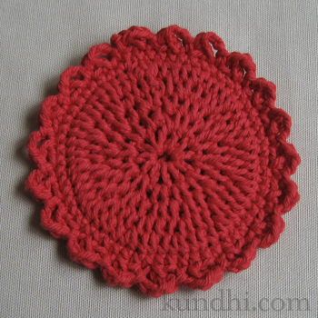 red crochet coaster