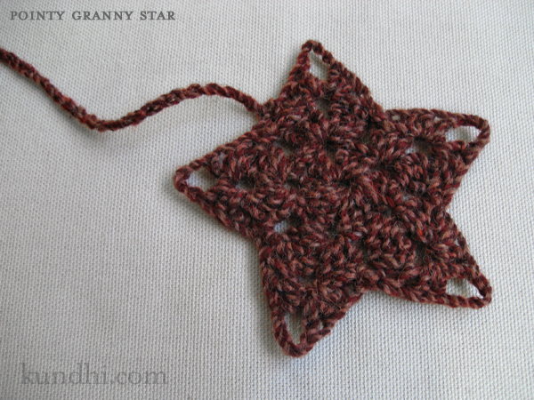 crochet granny star bookmark