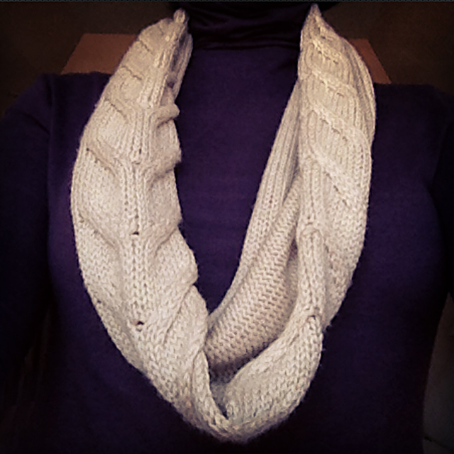 cowl from unraveled sweater
