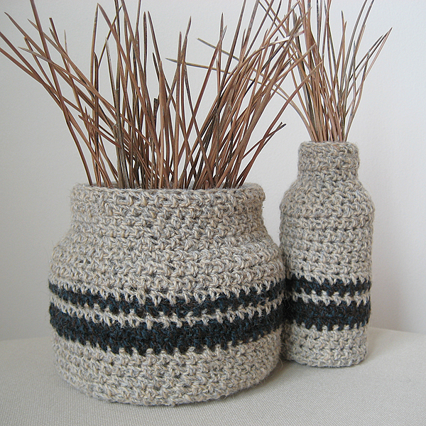set of two upcycled crochet covered vases