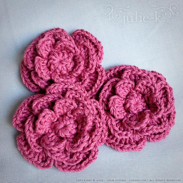 crochet rose valentine pin