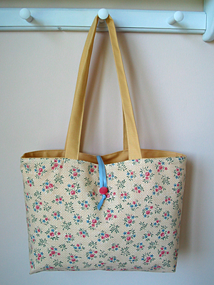 yellow floral reversible handmade tote